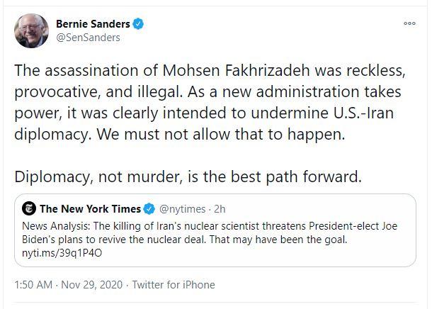 واکنش برنی سندرز به ترور «فخریزاده»؛ غیرقانونی، تحریکآمیز و بیملاحظه بود