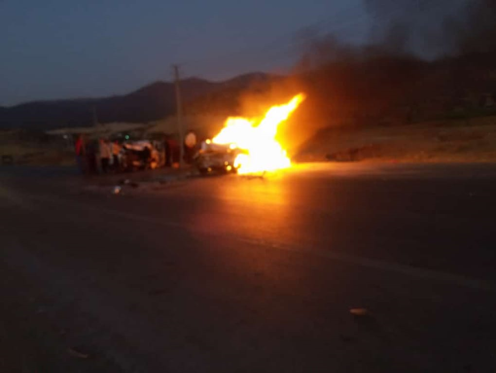 ۳ سرنشین پراید در آتش سوختند +عکس