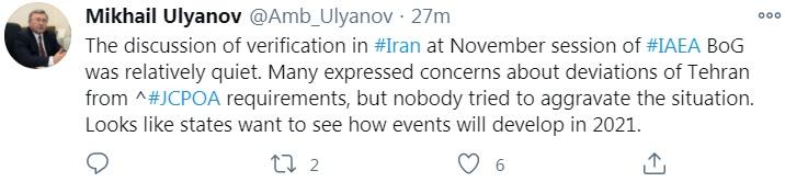 توییت اولیانوف از فضای جلسه شورای حکام درباره ایران