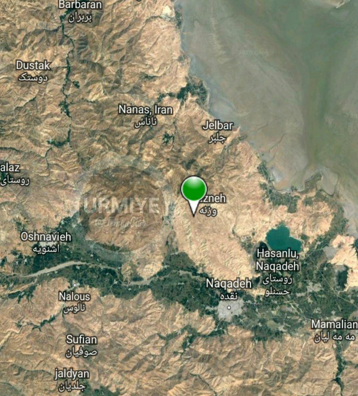 اولین تصویر ماهواره ای از محل وقوع زلزله