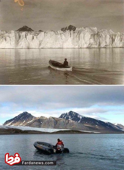 دو عکس به فاصله ۱۰۰ سال از یک نقطه در یخچالهای قطب شمال