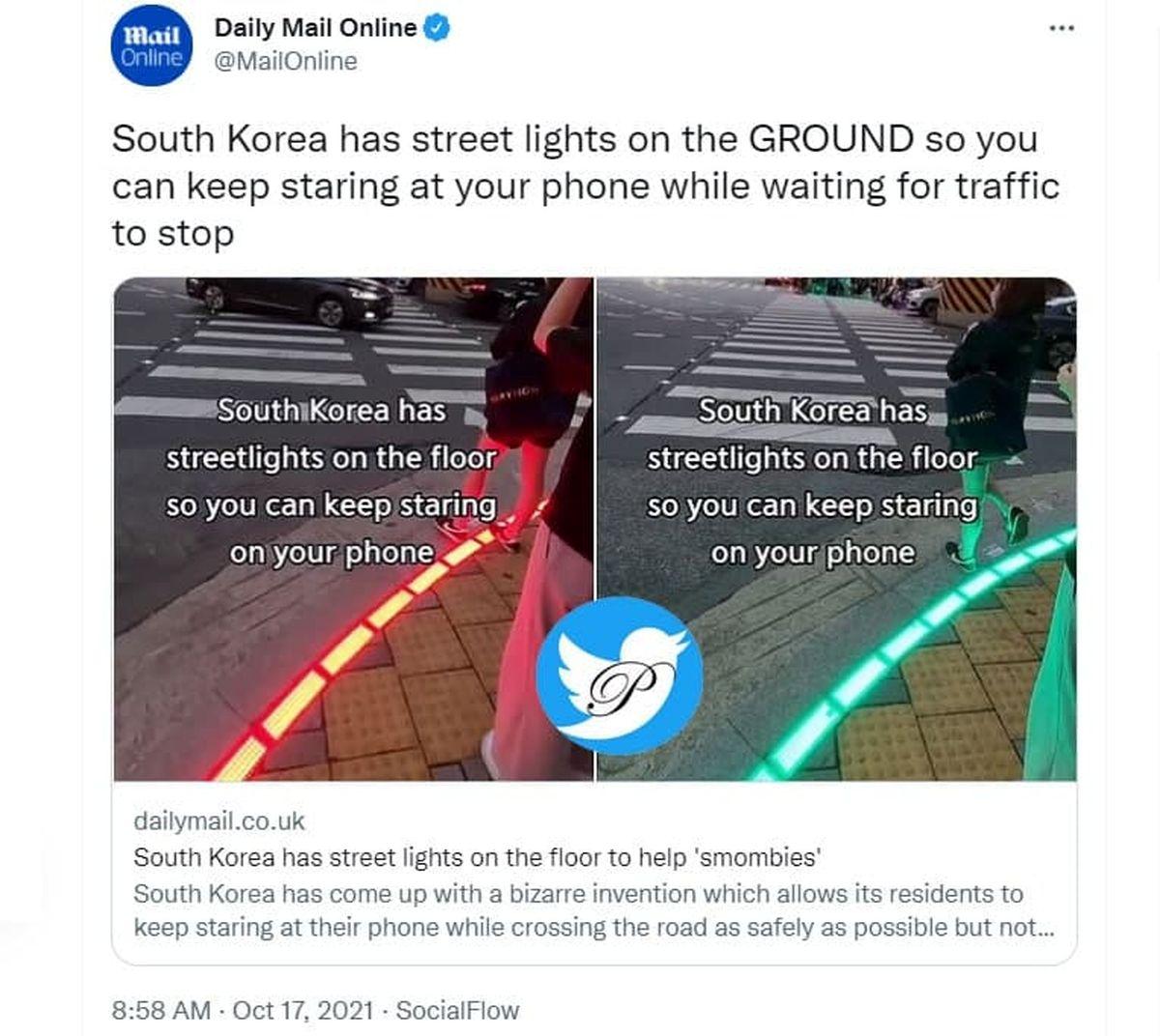 نصب چراغ راهنمایی کف خیابانهای کره جنوبی +عکس
