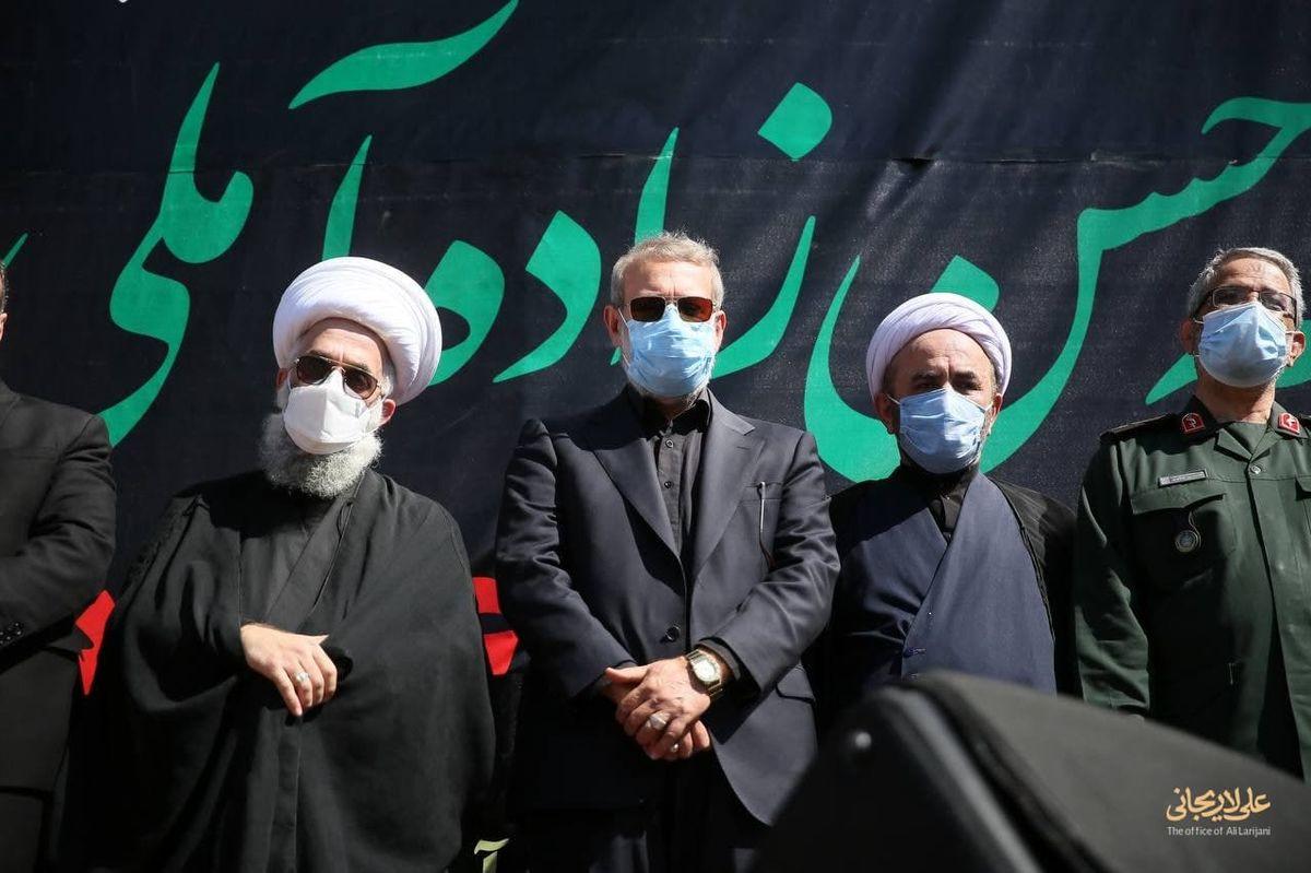 علی لاریجانی در مراسم تشیع علامه حسنزاده آملی +عکس