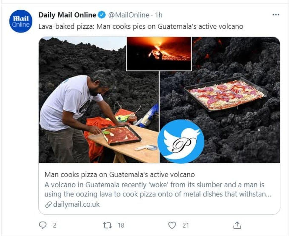پخت پیتزا روی گدازههای آتشفشان! +عکس