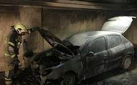 مهار آتش سوزی خودرو در پارکینگ ساختمان پنج طبقه