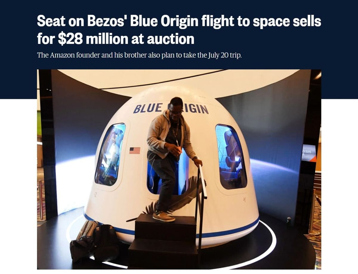 بلیت همراه جف بزوس در سفر به فضا ۲۸  میلیون دلار!
