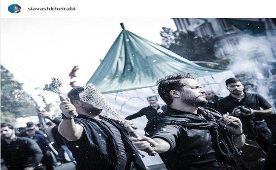 عکس: زنجیر زنی آقای بازیگر در ظهر عاشورا
