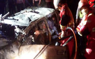 تصادف مرگبار در حادثه تلخ ترافیکی گیلان/ 5 زن و مرد زنده زنده سوختند +فیلم