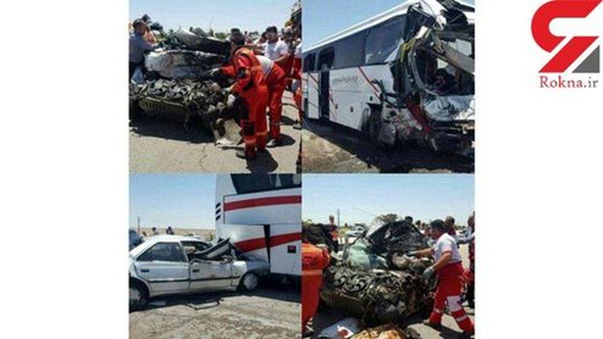 فاجعه در قزوین/برخورد ۲ اتوبوس با ۱۵ خودرو ۴۲ قربانی بر جای گذاشت +تصاویر