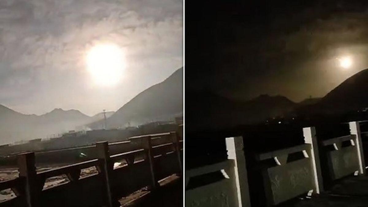 رؤیت شیء درخشان عجیب در آسمان چین! +فیلم