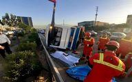 واژگونی مرگبار مینیبوس در محله مشیریه +تصاویر