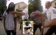 ضرب و شتم وحشیانه مرد سیاه پوست مقابل فرزندانش! +فیلم