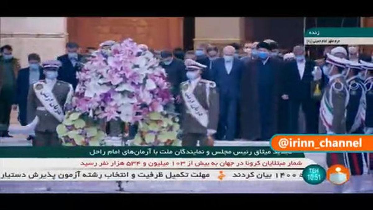 فیلم: حضور قالیباف و جمعی از نمایندگان مردم در حرم امام (ره)