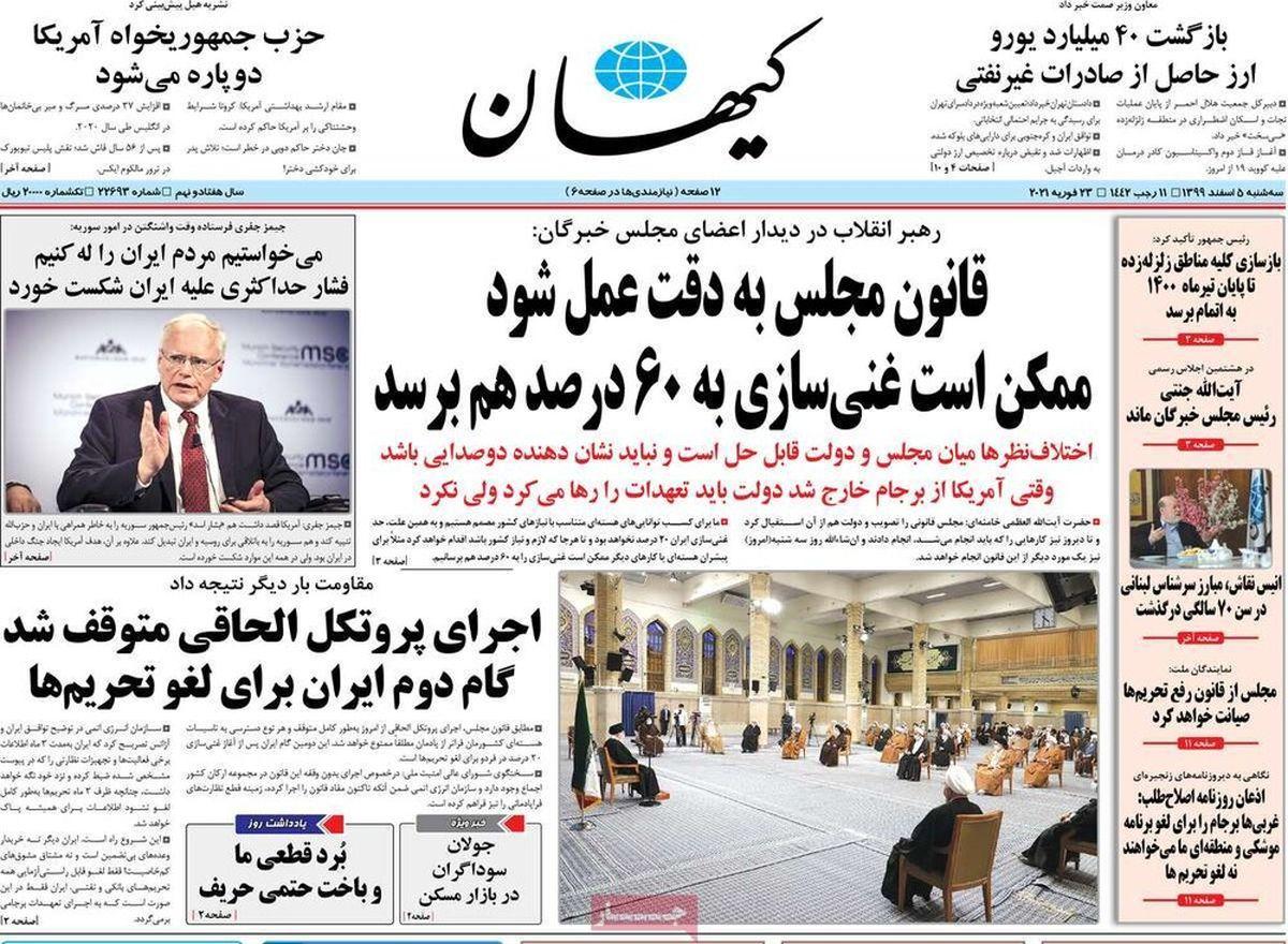 تصاویر: روزنامههای صبح سهشنبه ۵ اسفند ۹۹