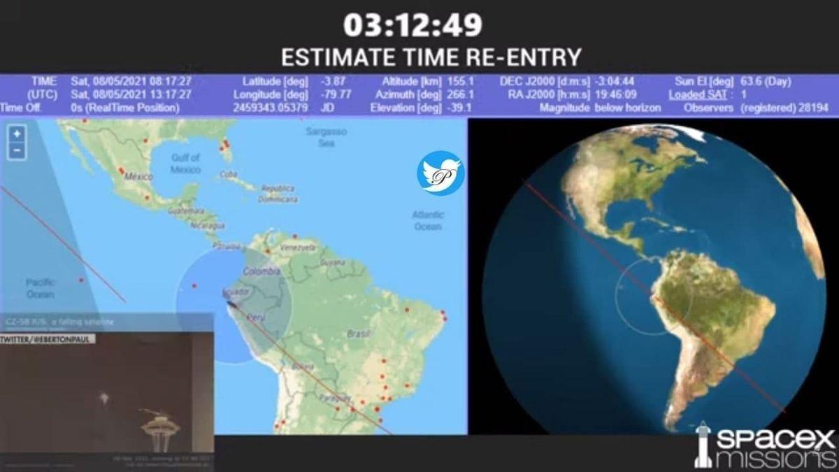 سه ساعت و ١٢ دقیقه دیگر زمان ورود موشک سرگردان چینی به زمین