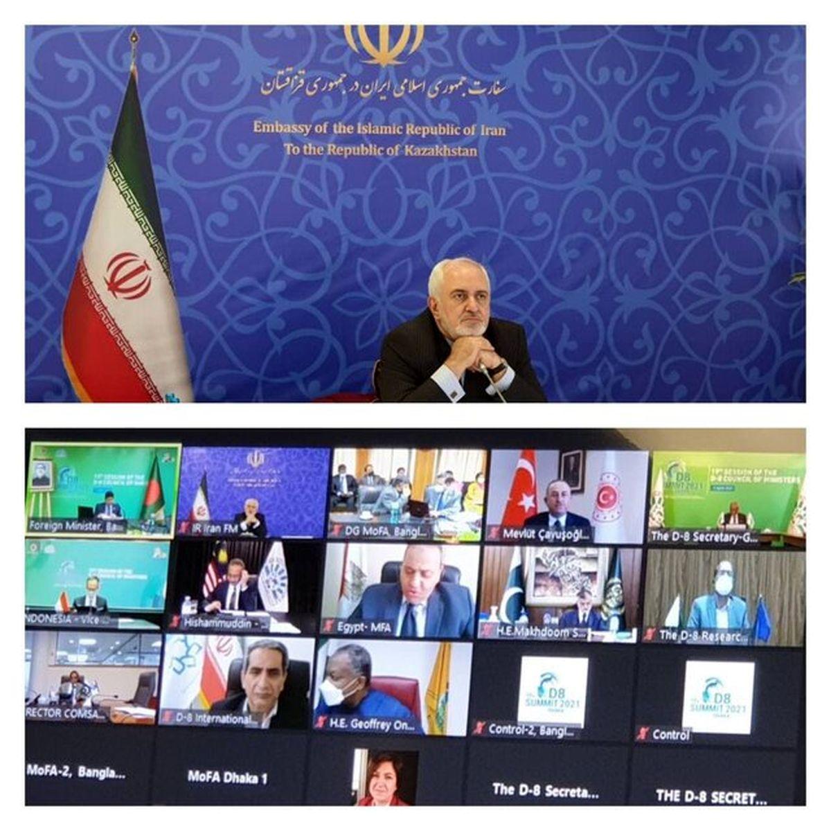 ظریف در نشست مجازی شورای وزیران دی-۸