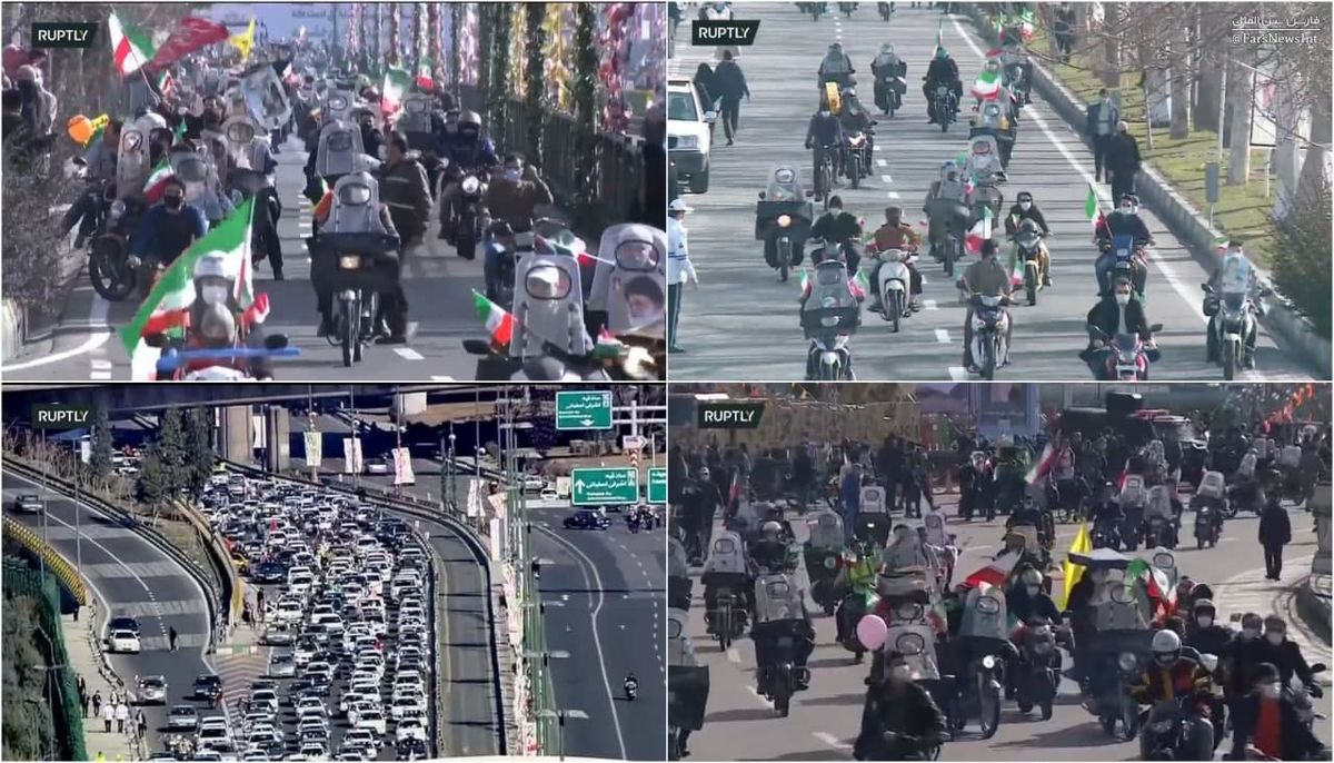 فیلم: تجمع موتورسواران در میدان آزادی تهران