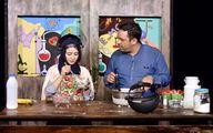 آشپزی نیتروژنی خانم بازیگر در یک برنامه +عکس