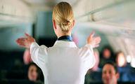 حرکت عجیب مهماندار مسافران هواپیما را شوکه کرد +فیلم