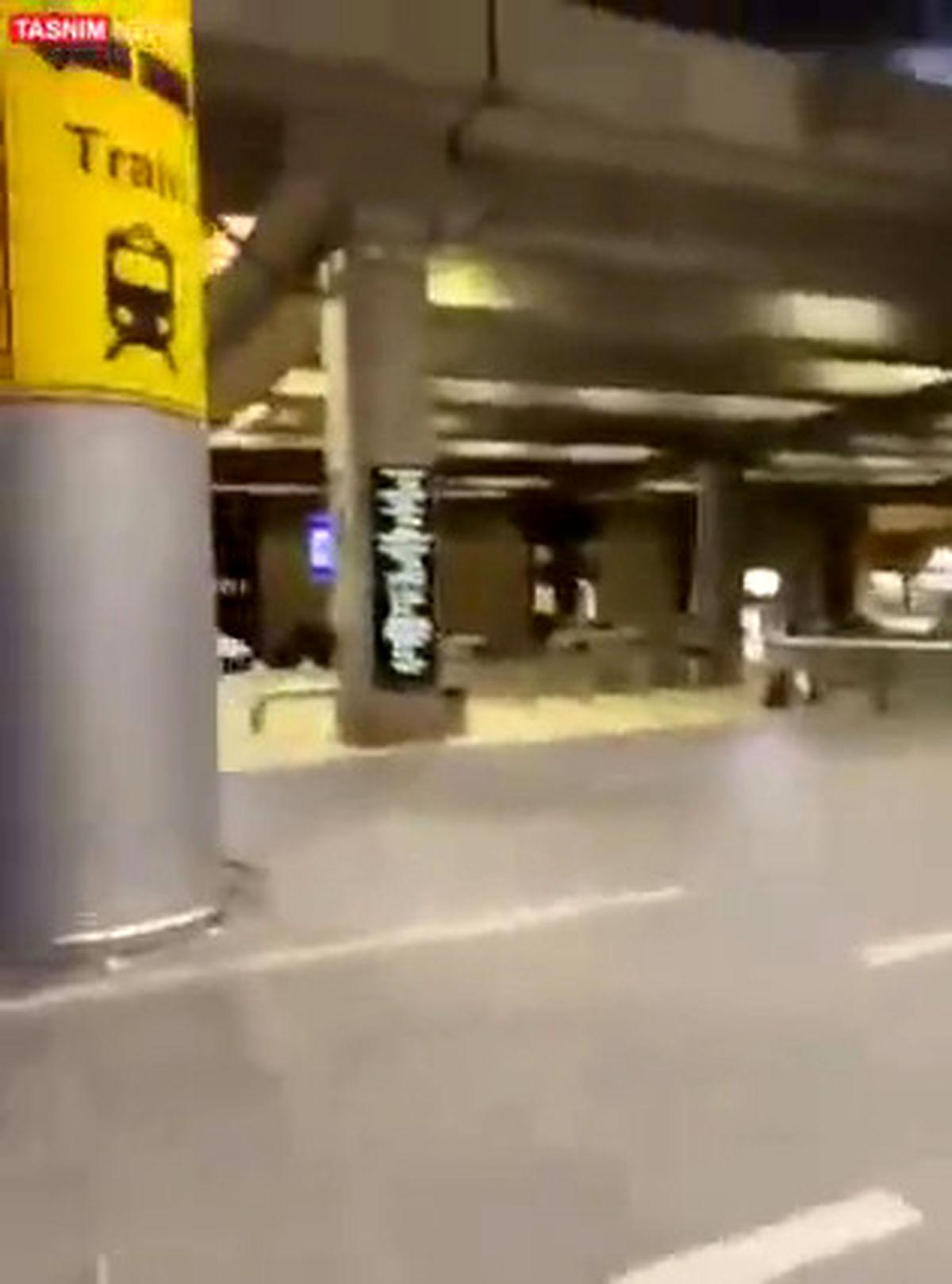 موشک های گردان های قسام  برفراز فرودگاه بن گورین +فیلم