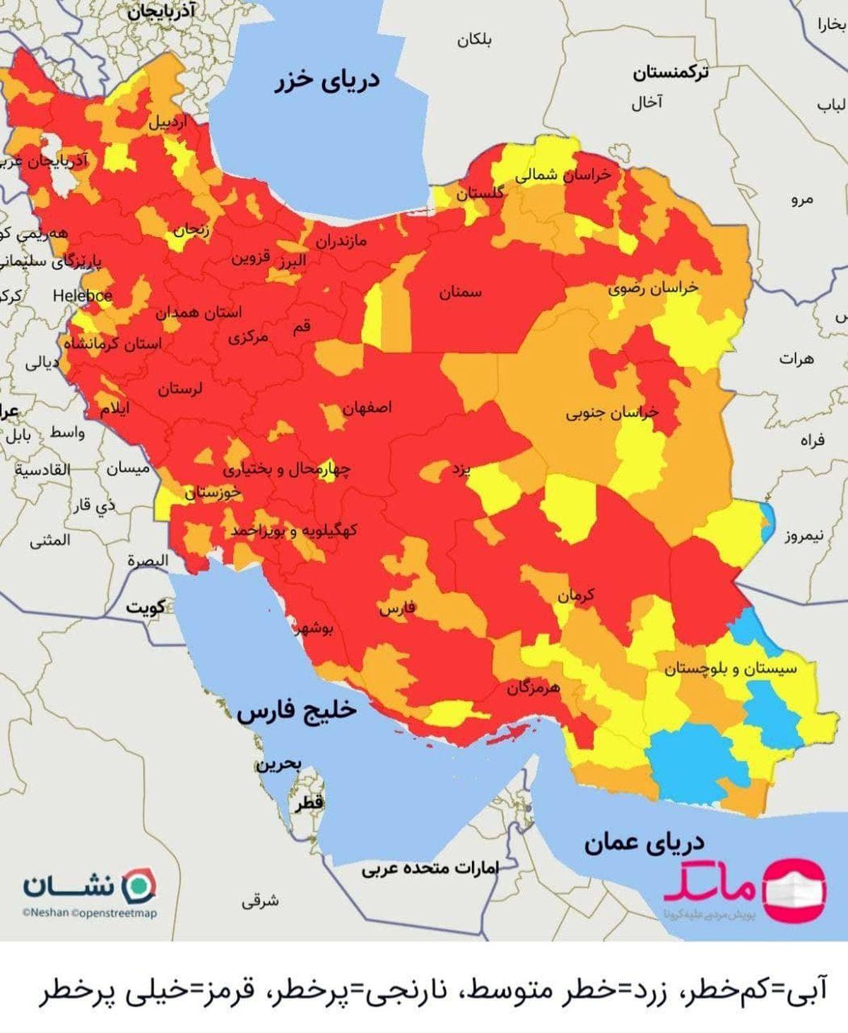 تمامی مراکز استانها از امروز در وضعیت قرمز قرار گرفتند +نقشه