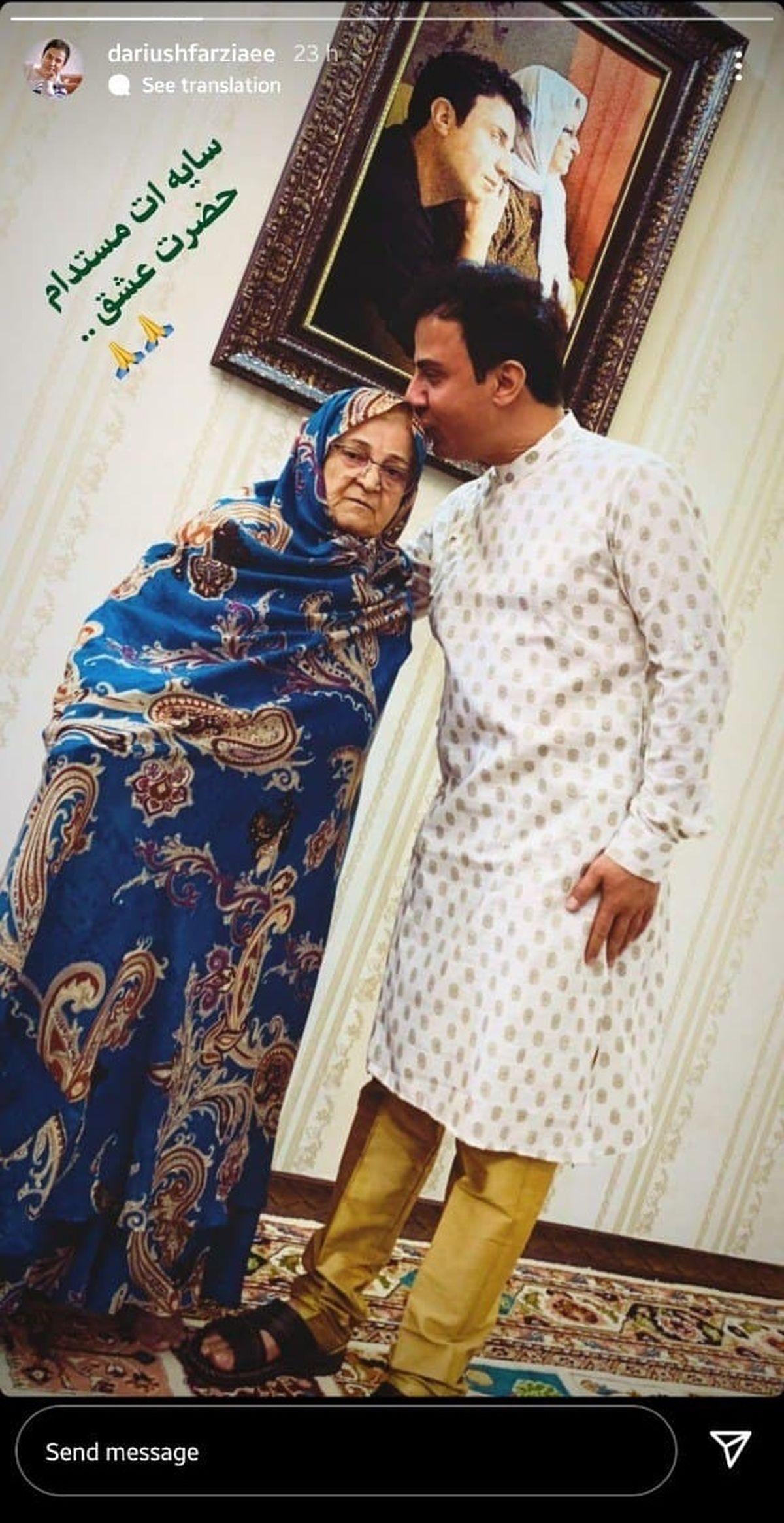 تصویر عمو پورنگ و مادرش در لباس هندی