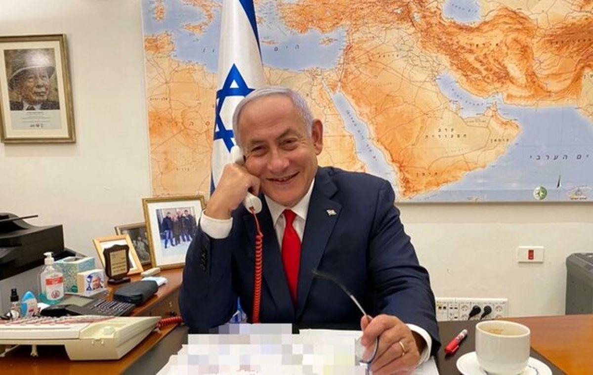 تصویر خندان نتانیاهو در تماس با بایدن