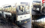 تصویری هولناک از اتوبوس شهری در یزد که منفجر شد! +عکس